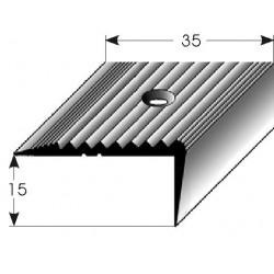 Schodová hrana 15 x 35 mm mosaz, leštěná, vrtaná
