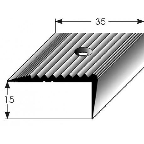 Schodová hrana 15x35 mm mosaz, leštěná, vrtaná