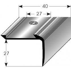 Schodová hrana - kombi 27 x 40 mm Aluminium elox., vrtaná