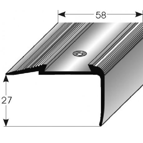Schodová hrana - kombi 27x58 mm, vrtaná, Al. s otěruvzdorným spec. emailem-nerez povrch s SB balením