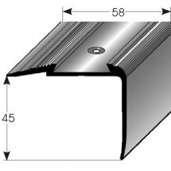Schodová hrana - kombi 45 x 58 mm Aluminium elox., vrtaná