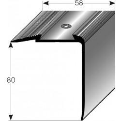 Schodová hrana - kombi 80 x 58 mm Aluminium elox., vrtaná s SB balením