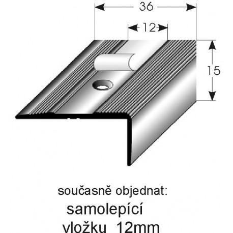 Schodová hrana 15x36 mm Aluminium elox., vrtaná