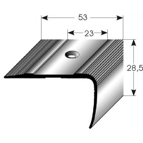 Schodová hrana 53x28,5 mm Aluminium elox., vrtaná