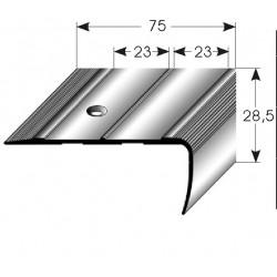 Schodová hrana 75 x 28,5 mm Aluminium elox., vrtaná