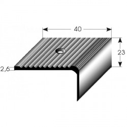 Schodová hrana 23x40 mm Aluminium elox., vrtaná