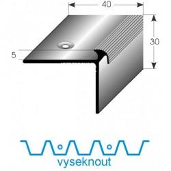 Vyseknutí upevňovacího ramene pro schodovou hranu 40x30x5 mm Aluminium elox., vrtaná