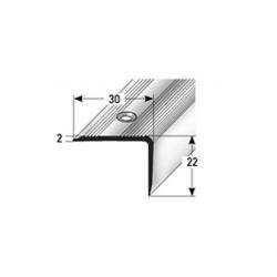 Schodová hrana 22 x 30 mm, aluminium, eloxovaná, vrtaná
