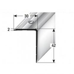 Schodová hrana 42 x 30 mm, aluminium, eloxovaná, vrtaná