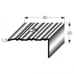 Nerezová schodová hrana 20x40x1,5mm, profilované drážky s SB balením