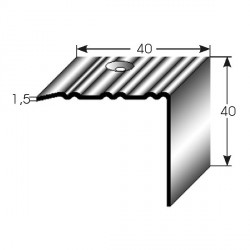 Nerezová schodová hrana 40x40x1,5mm, profilované drážky s SB balením