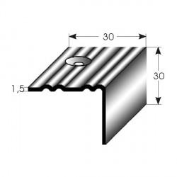 Nerezová schodová hrana 30x30x1,5mm, profilované drážky s SB balením